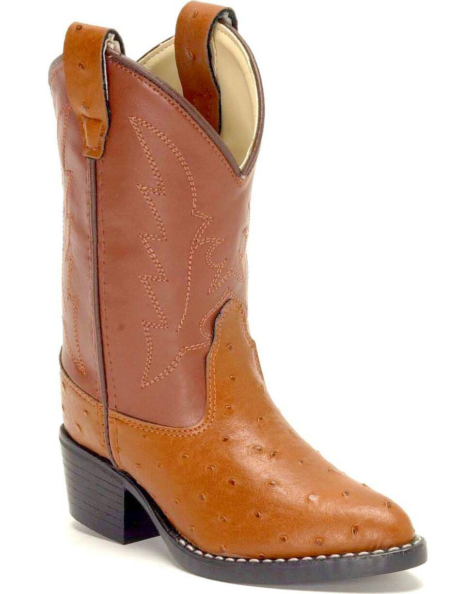 Jama Children's Ostrich Print Western Boots, Cognac, hi-res