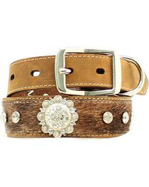 Blazin Roxx Hair-on-Hide Rhinestone & Concho Dog Collar - XS-XL, , hi-res