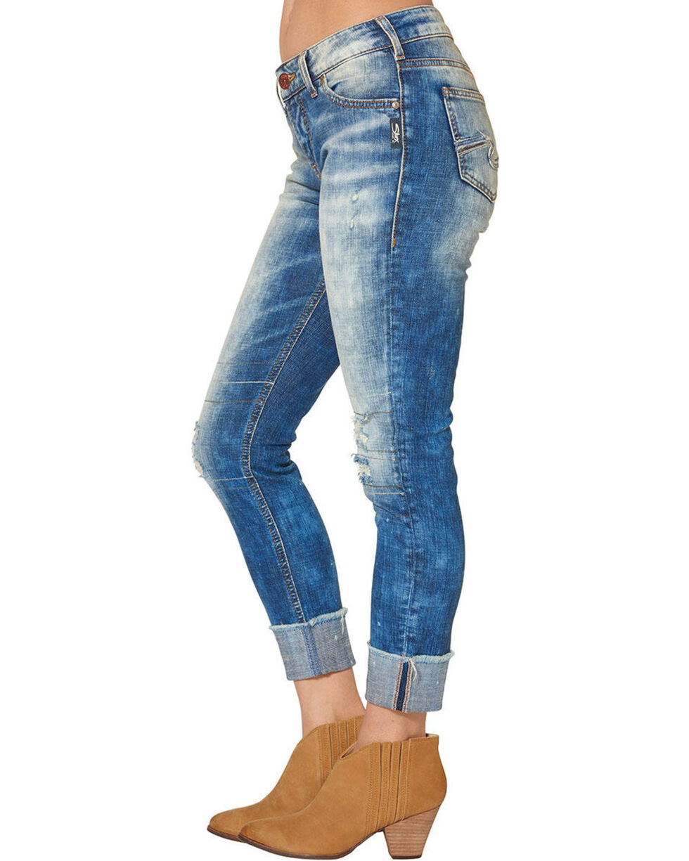 Silver Women's Girlfriend Cropped Skinny Jeans, Blue, hi-res