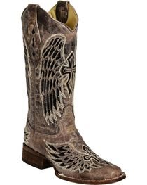 Corral Women's Cross and Wing Sequin Inlay Square Toe Western Boots, , hi-res