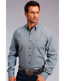 Stetson Men's Grey Geo Print Long Sleeve Western Shirt , , hi-res