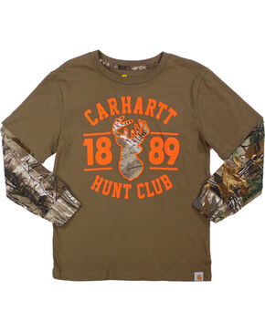 Carhartt Boys' Hunt Club Long Sleeve T-Shirt, Brown, hi-res