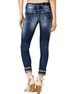 Miss Me Women's Embroidered Cuff Skinny Jeans , Blue, hi-res