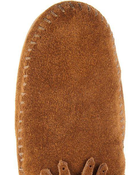 Minnetonka Double Fringe Side Zip Moccasin, Brown, hi-res
