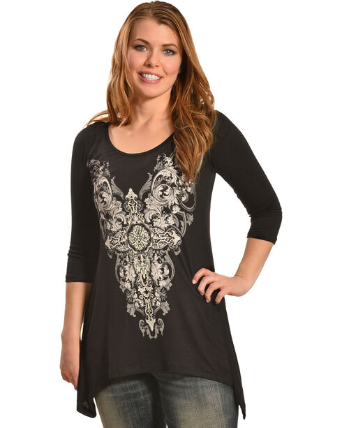 Liberty Wear Women's Stargazer Lace Shirt, Black, hi-res