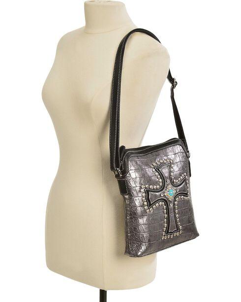 Blazin Roxx Metallic Studded Croc Print Crossbody Bag, Silver, hi-res