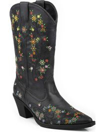 Roper Girls' Floral Embroidered Cowgirl Boots - Snip Toe, , hi-res