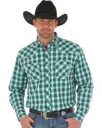 Wrangler 20X Men's Green/White Competition Advanced Comfort Snap Shirt, , hi-res