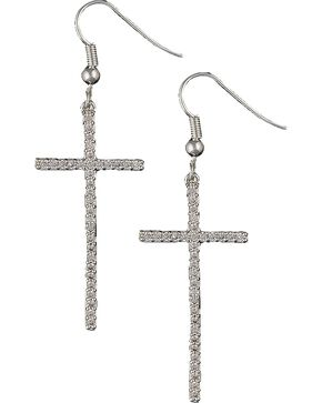 Montana Silversmiths Bling Cross Earrings, Silver, hi-res