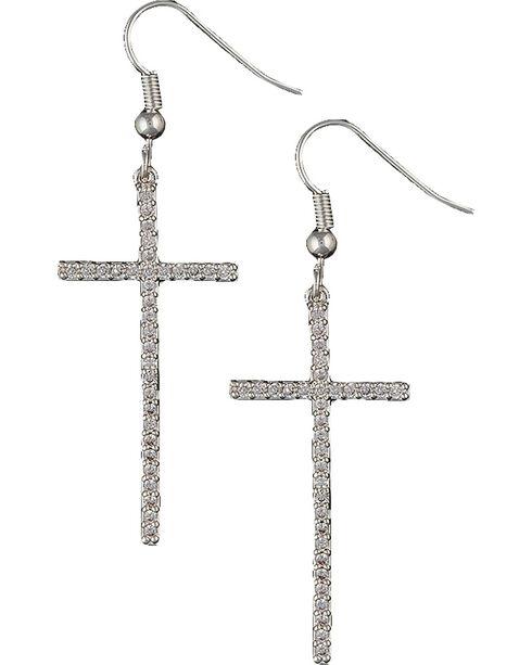Montana Silversmiths Bling Cross Earrings, Silver, hi-res