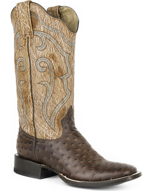 Roper Women's Brown Faux Ostrich Western Boots - Square Toe , , hi-res