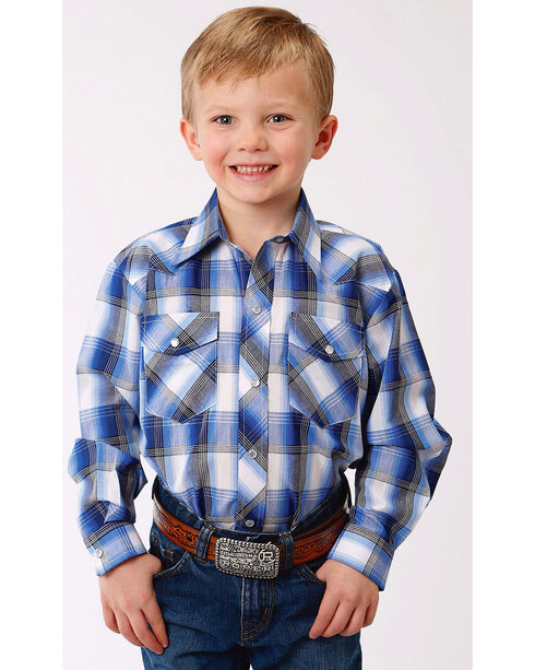 Roper Boys' Blue Classic Snap Western Shirt , Blue, hi-res