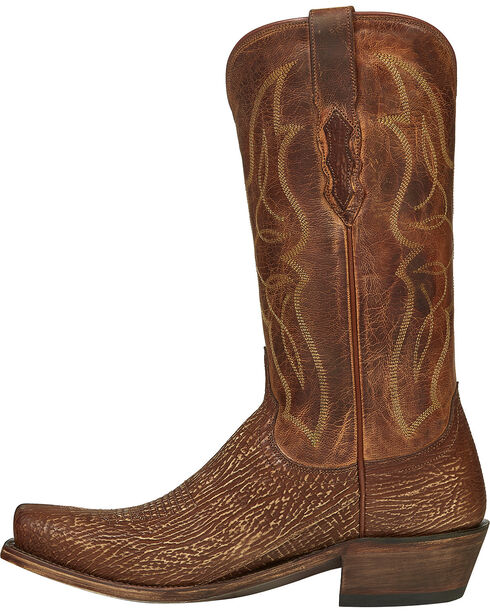 Lucchese Handmade Cognac Carl Sharkskin Cowboy Boots - Narrow Square Toe , Cognac, hi-res