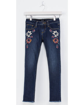 Miss Me Girls' Floral Embroidered Ankle Jeans - Skinny, Indigo, hi-res