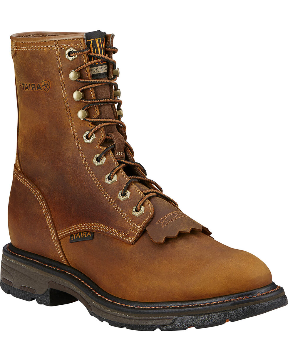 "Ariat Men's Workhog 8"" Lace Up Composite Work Boots, Aged Bark, hi-res"