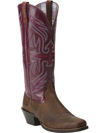 Ariat Women's Square Toe Round Up Buckaroo Boots, , hi-res