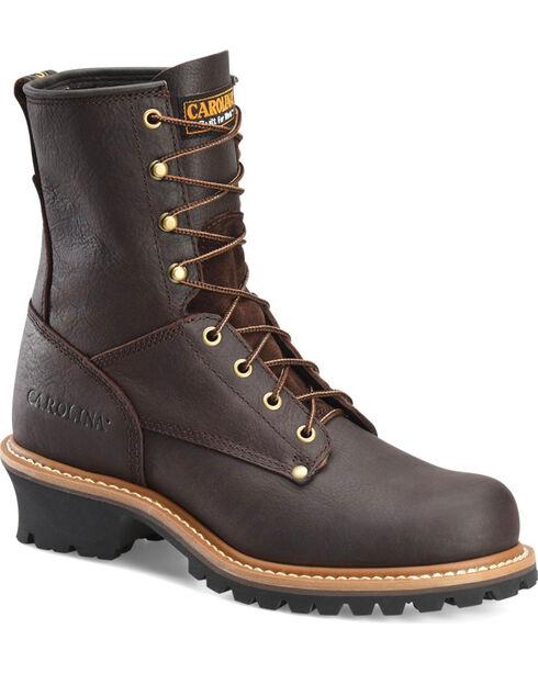 "Carolina Men's Logger 8"" Steel Toe Work Boots, Brown, hi-res"