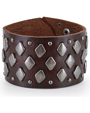 Moonshine Spirit® Men's Studded Leather Cuff , Dark Brown, hi-res