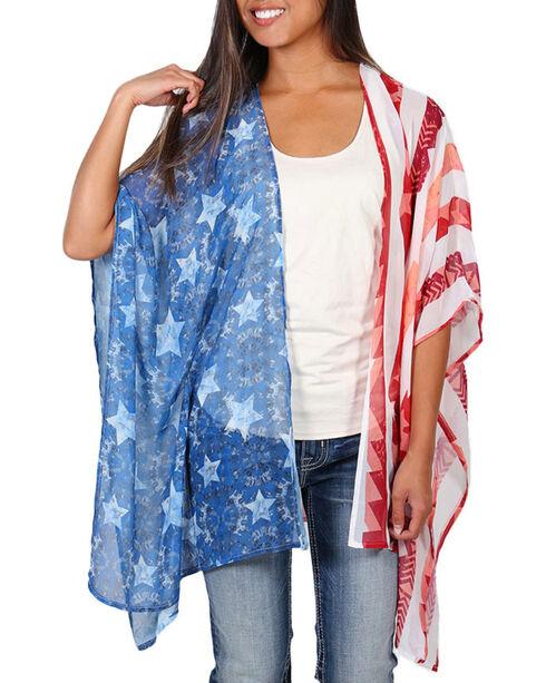 Eyeshadow Women's Sheer Flag Kimono , Red/white/blue, hi-res