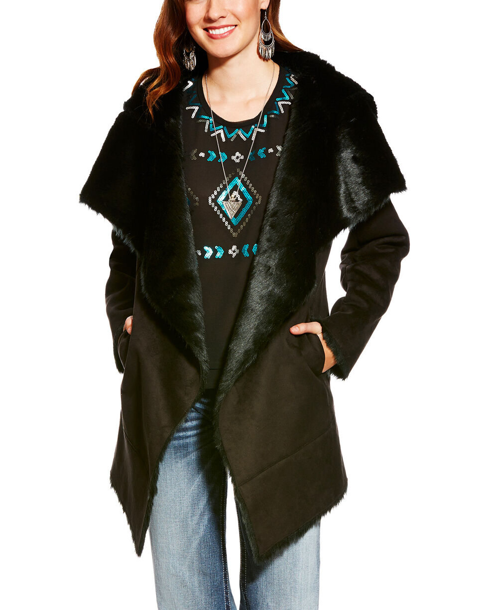 Ariat Women's Sia Bonded Suede Faux Fur Coat, Black, hi-res