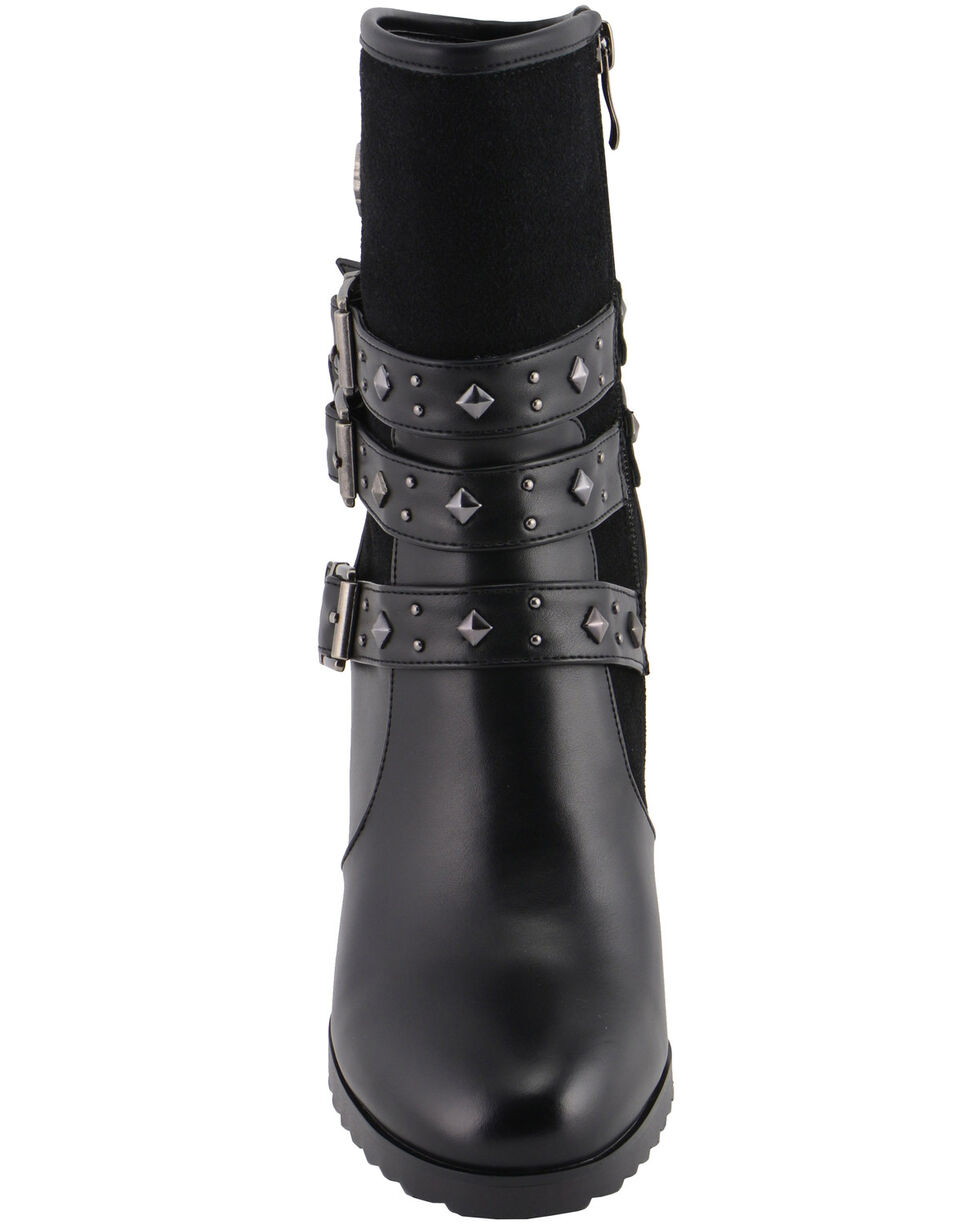 Milwaukee Leather Women's Block Heel Triple Strap Riding Boots - Round Toe, Black, hi-res