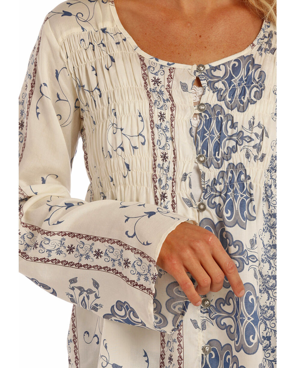 Rock & Roll Cowgirl Women's Blue Printed Blouse , , hi-res