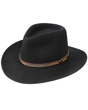 Stetson Men's Linwood Crushable Wool Felt Hat, Black, hi-res