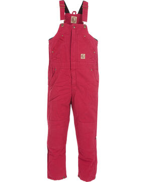 Berne Toddlers' Bark Washed Insulated Bib Overalls, Berry, hi-res