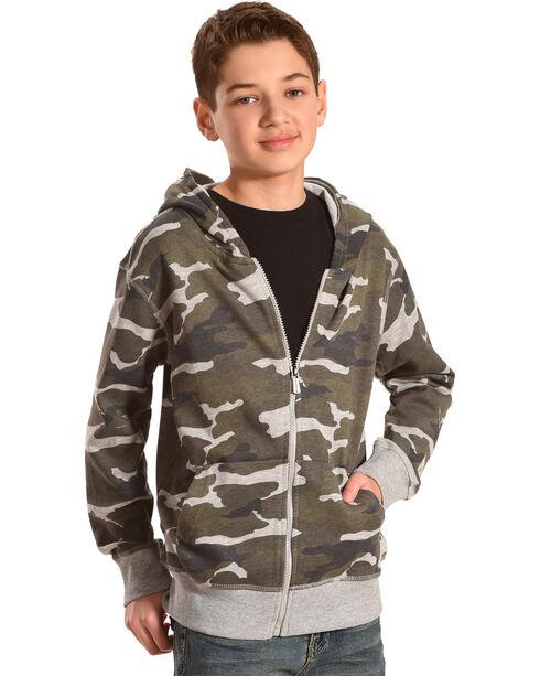 Silver Boys' Camo Full Zip Hoodie, Charcoal, hi-res