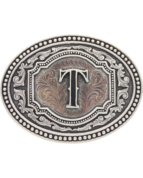 "Montana Silversmiths Men's Initial ""T"" Two-Tone Attitude Belt Buckle, Silver, hi-res"