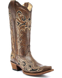 Circle G by Corral Women's Side Embroidery Snip Toe Western Boots, , hi-res