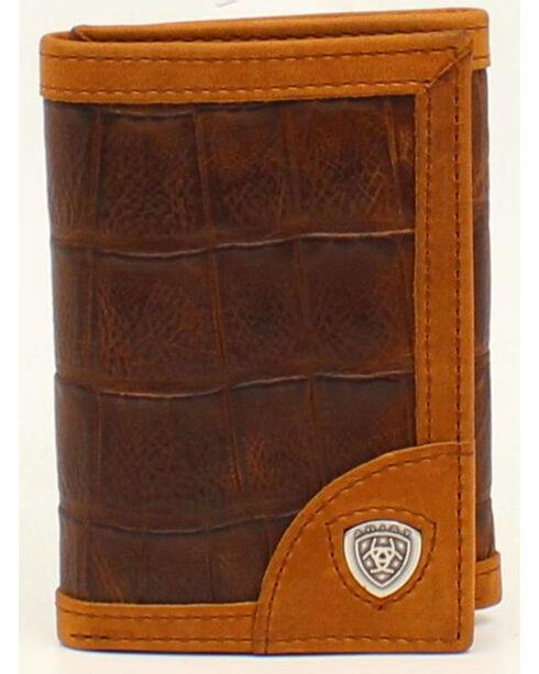 Ariat Croc Shield Concho Tri-Fold Wallet, Brown, hi-res