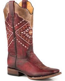 Roper Women's Burgundy Burnish Leather Boots - Square Toe , , hi-res