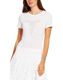 Ariat Women's White Short Sleeve Gem Skull Tee, , hi-res
