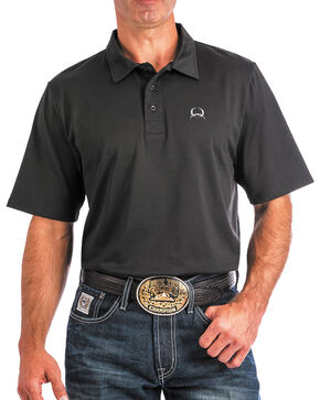 Cinch Men's ArenaFlex Black Athletic Polo, Black, hi-res