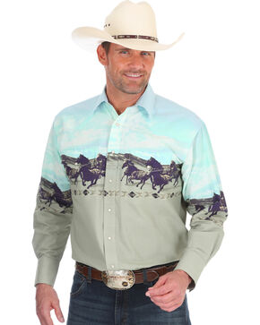 Wrangler Men's Sand Checotah Horse Border Shirt , Sand, hi-res