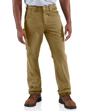 Carhartt Men's Flannel Lined Twill Dungaree Pants, Khaki, hi-res
