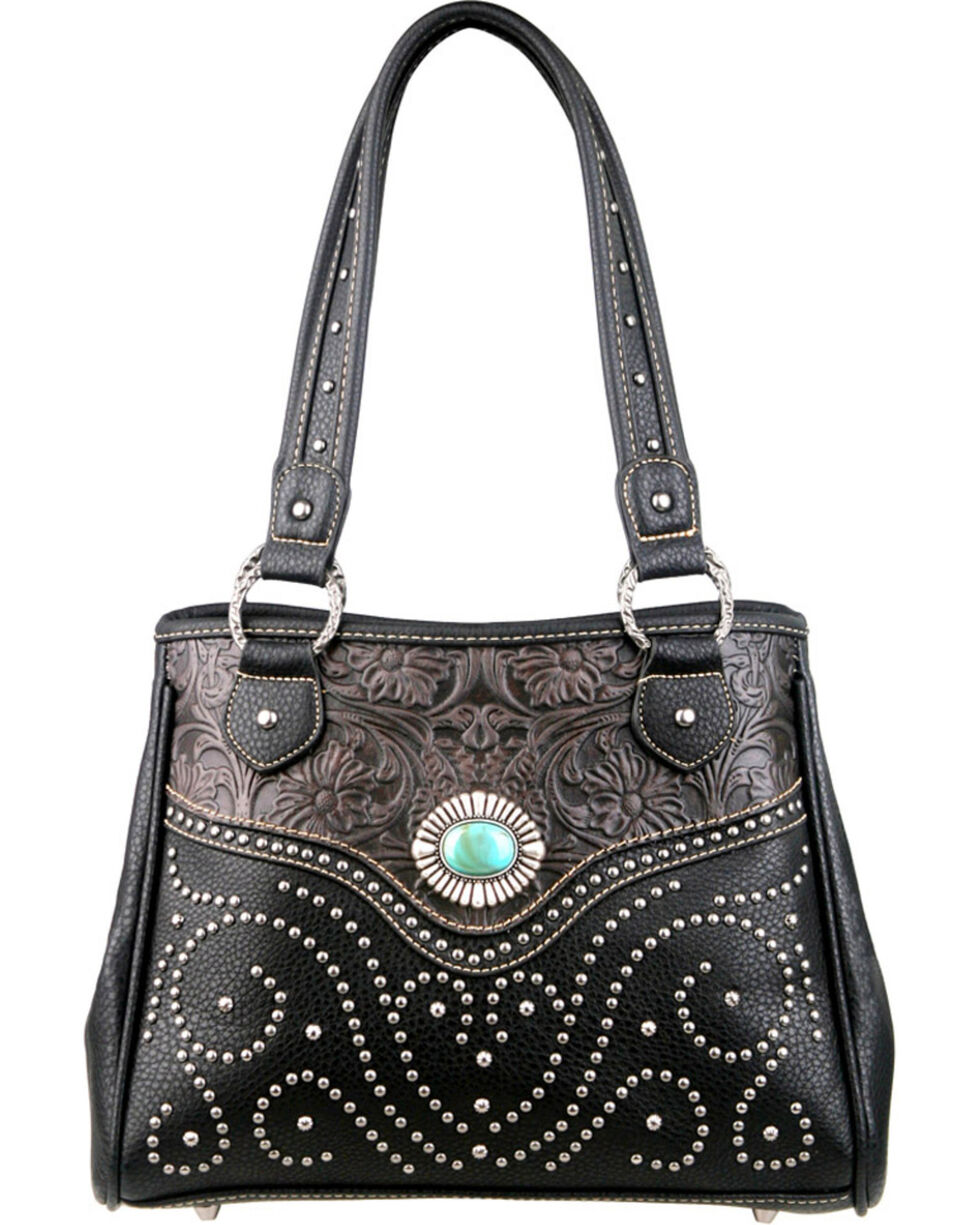 Montana West Trinity Ranch Black Tooled Design Handbag, Black, hi-res