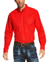 Ariat Men's Red Rowland Long Sleeve Print Shirt , , hi-res