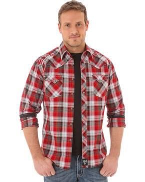 Rock 47 by Wrangler Men's Western Long Sleeve Shirt, Red, hi-res