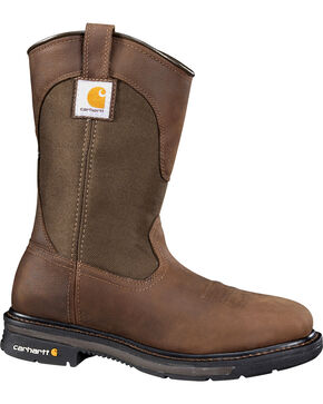 Carhartt Men's Wellington Work Boots - Square Toe, Bison, hi-res