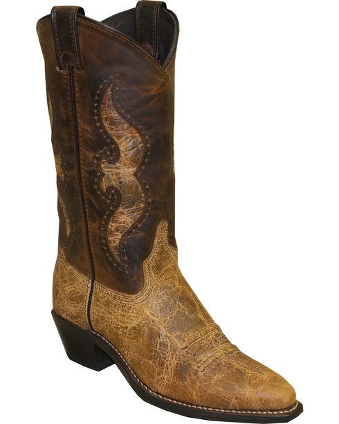 Abilene Women's Distressed Shaft Underlay Western Boots - Snip Toe, Brown, hi-res