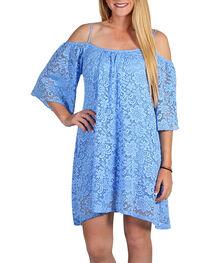 Jody Of California Women's Cold Shoulder Lace Dress, Blue, hi-res
