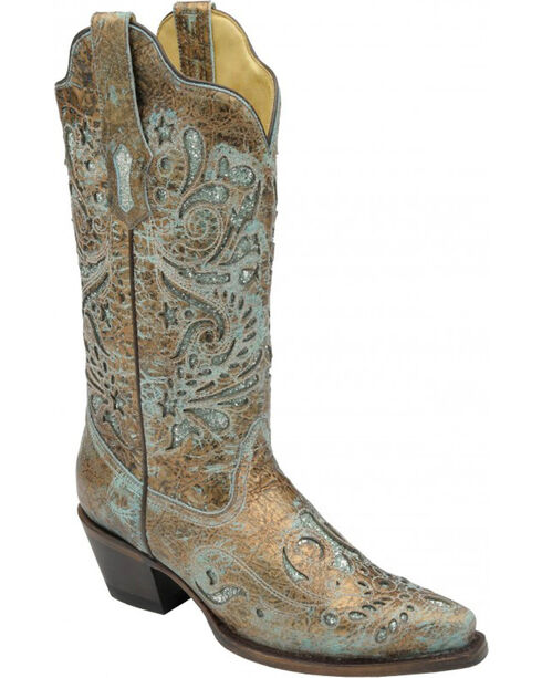 Corral Women's Turquoise Glitter Inlay Western Boots, Brown, hi-res