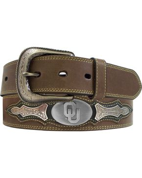 University of Oklahoma Concho Overlay College Belt, Brown, hi-res
