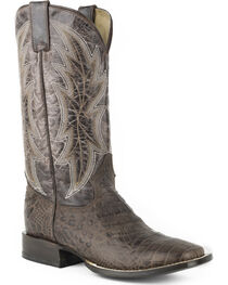 Roper Men's Brown Alligator Print Western Boots - Square Toe , , hi-res