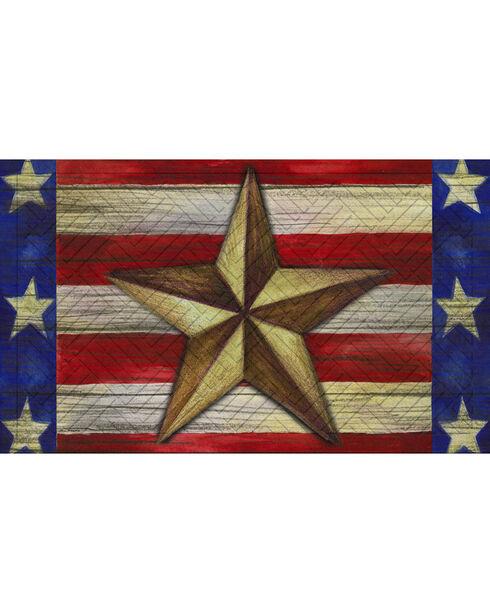 Evergreen Patriotic Barn Star Embossed Floor Mat , Red/white/blue, hi-res