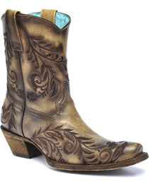 Corral Women's Burnished Snip Toe Short Western Boots, , hi-res
