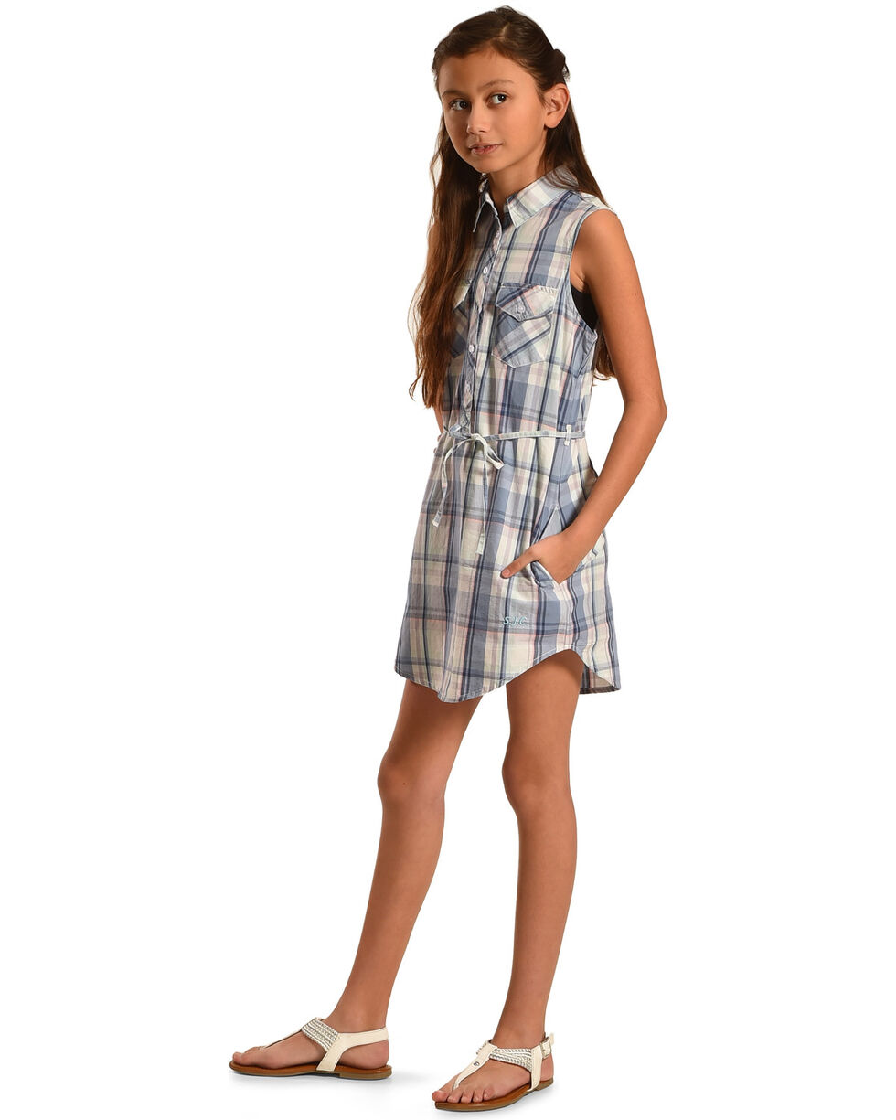 Silver Girls' Blue Plaid Shirt Dress , Blue, hi-res