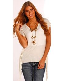 Panhandle Slim Women's Drop Sleeve Fringe Tunic Top , , hi-res